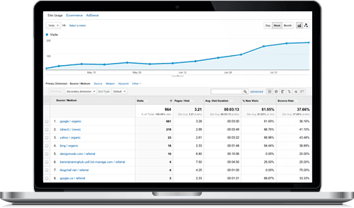 Image of a Google Analytics Dashboard where SEO clients can see the increase of monthly visitors